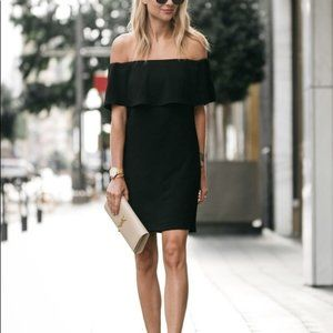 Charles Henry Black Off Shoulder Mini Dress XS